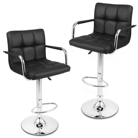 Modern Quilted Bar Stools Set with Faux Leather Exterior