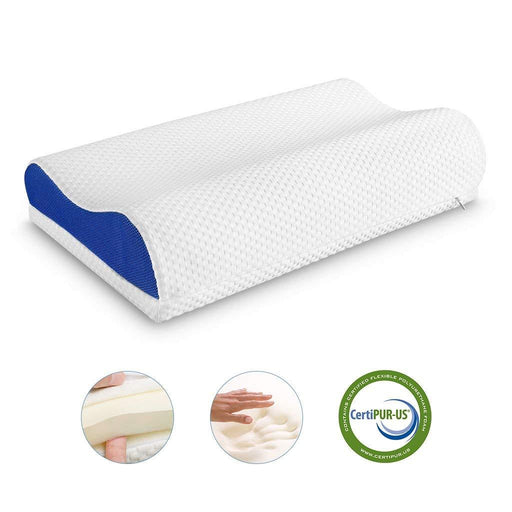 LANGRIA LANGRIA Orthopedic Memory Foam Contour Bed Pillow for Sleeping with Adjustable Height Detachable Foam Layer Neck Support and Washable Mesh Knit Cover Standard Size