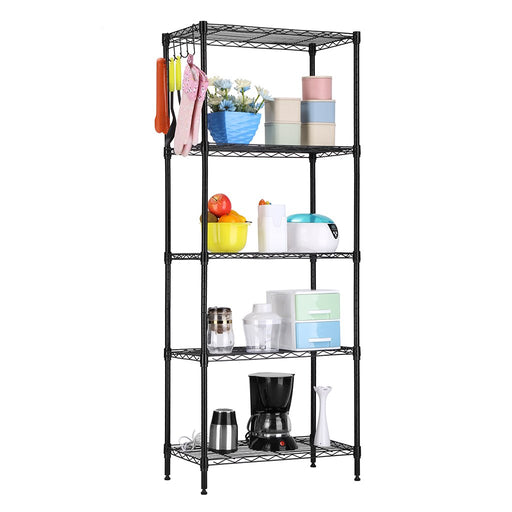 LANGRIA LANGRIA 5 Tier Shelving Units Storage Rack Supreme Wire Shelving Organization, Black