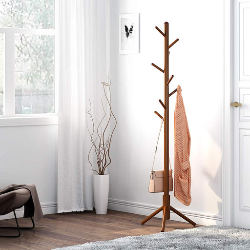 Solid Rubber Wood Coat Rack Stand Hat Hanger Tree Holder