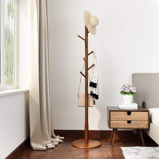 Rubber Wood Coat Rack Free Standing Hat Hanger Tree Holder