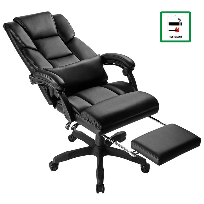 LANGRIA LANGRIA New Gaming Chair Racing Style Faux Leather High Back Chair with Footrest Headrest and Lumbar Cushion Ergonomic Adaptive Design, Black