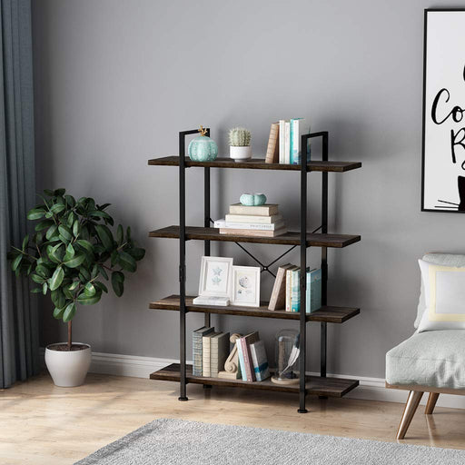 Industrial 4-Tier Bookcase