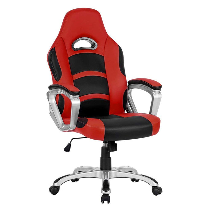 LANGRIA LANGRIA High-Back Computer Gaming Chair, PU Leather Ergonomic Office Chair with Padded Footrest and Armrests, Adjustable Seat Height, Tilting Back, 360 Degree Swivel