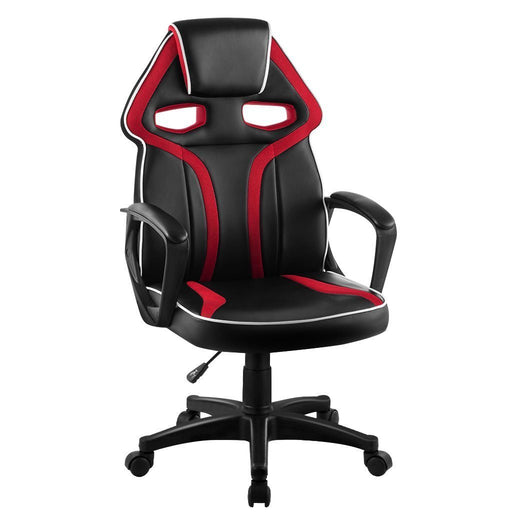 LANGRIA LANGRIA High Back Racing Style Faux Leather Executive Computer Gaming Office Chair, Well Padded Footrest and Lumbar Cushion, Ergonomic Reclining Design, Adjustable Height, (Black and Red)