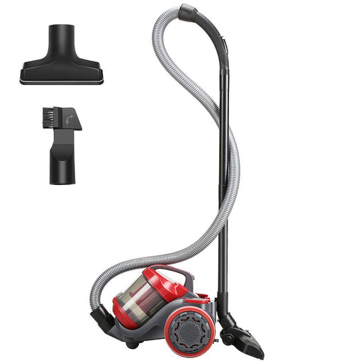 LANGRIA LANGRIA Heavy Duty Canister Vacuum Cleaner with 18 Kpa High Suction, Corded Bagless Dry Wet 750 W Cyclone Vacuum with HEPA Filtration and Floor/Sofa/Crevice Nozzles Included (Red/Gray)