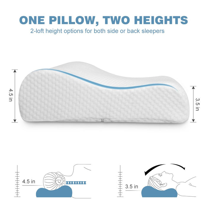 LANGRIA LANGRIA Cervical Contour Memory Foam Bed Pillow with Ergonomic Orthopaedic Design CertiPUR-US Certified Hypoallergenic Dust Mite Resistant