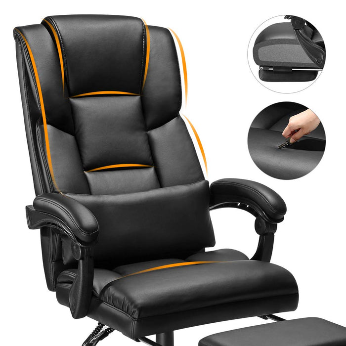 Enjoyable New Gaming Chair Racing Style Faux Leather High Back Chair With Footrest Headrest Machost Co Dining Chair Design Ideas Machostcouk