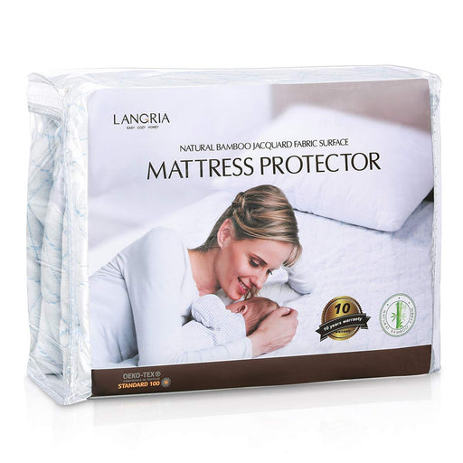 "LANGRIA LANGRIA Hypoallergenic Bamboo Mattress Protector with Jacquard Fabric Surface, 5-SidedWaterproof and Dust Mite Proof Mattress Cover, Fitted 13.8"" Deep Pocket"
