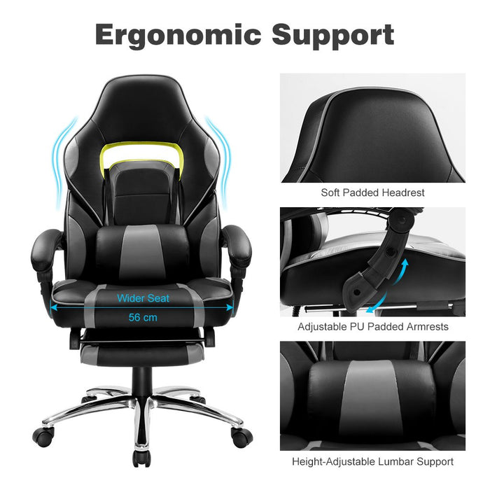 LANGRIA LANGRIA New Gaming Chair Racing Style Faux Leather High Back Chair with Footrest Headrest and Lumbar Cushion Ergonomic Adaptive Design