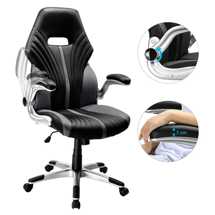 LANGRIA LANGRIA Leather Office Chair, Ergonomic High-Back Design, Swivel Computer Chair with Flip up Armrests for Study Room Home Office