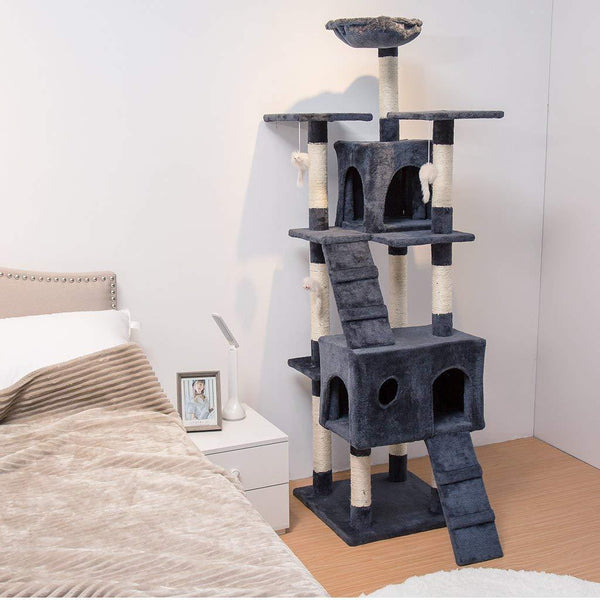 LANGRIA 68'' Cat Tree with Hammock Multi Level Tall Tower