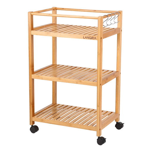 LANGRIA LANGRIA Bamboo All-Purpose 3 Tier Rolling Cart with Removable Hooks and Lockable Wheels for Home Organization Kitchen Bathroom Storage Cart (Load 11 lbs. Per Shelf)