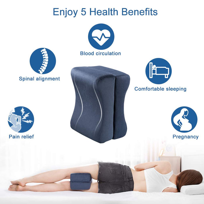 LANGRIA LANGRIA Knee Pillow Memory Foam Leg Pillows for Leg, Back, Hip Pain Relief, Foldable and Antibacterial Design with Removable Cover, CertiPUR-US Certified, (9.8 x 5.9 x 7.0 inches)