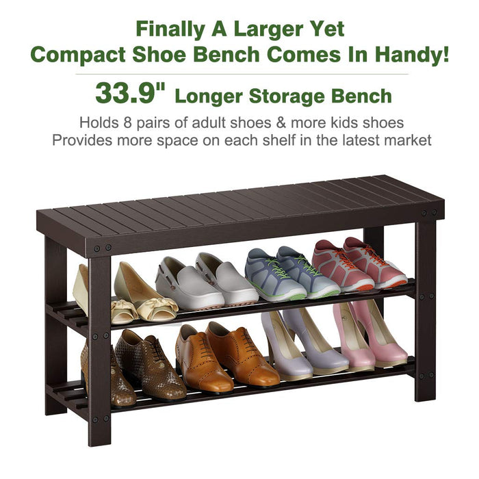 Pleasant Large 3 Tier Shoe Bench Entryway Bamboo For 8 Pairs Of Shoes Uwap Interior Chair Design Uwaporg