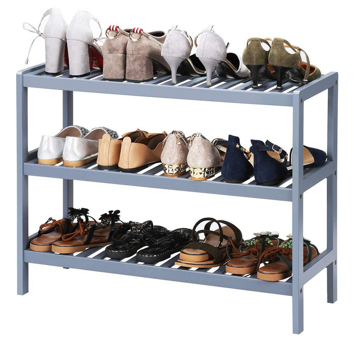LANGRIA LANGRIA 3 Tier Bamboo Shoe Rack, Free Stand Storage Shelf for Boots Heels Bag Holder, Holds Up to 12 Pairs, 27.5 in W x 9.8 in D x 21.7 in H, Ideal for Entryway Hallway and More (Gray)