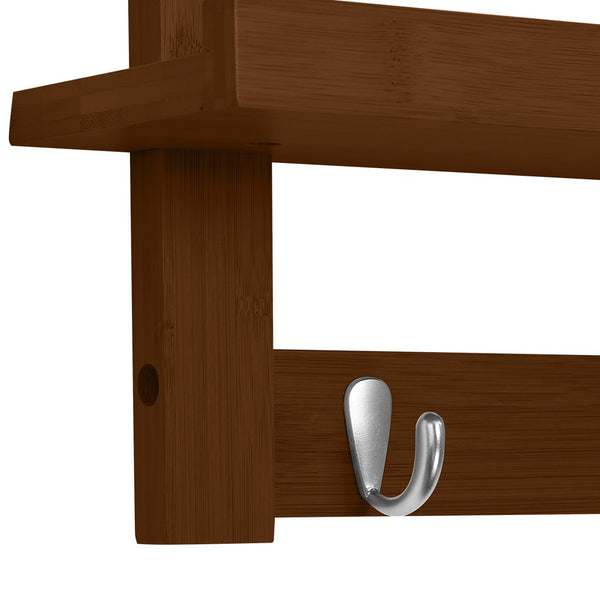 ... LANGRIA Wall Mounted Bamboo Wooden Coat And Hat Rack ...