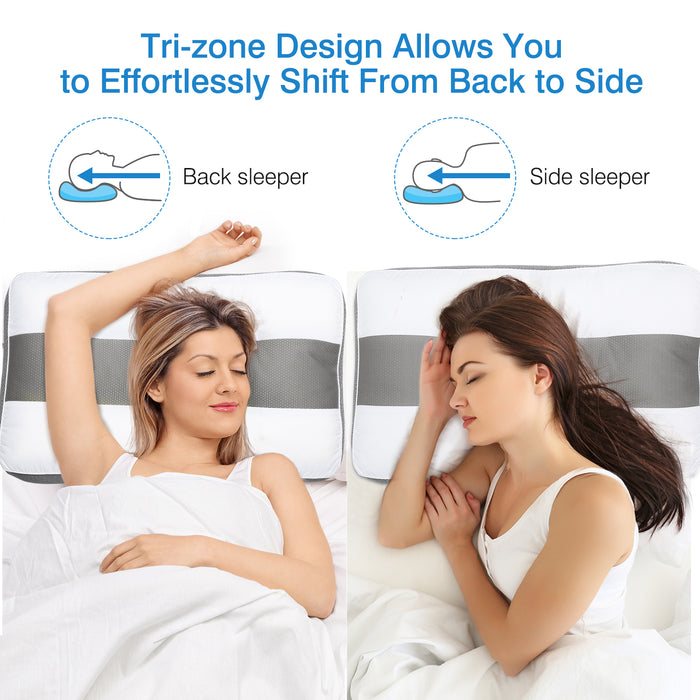 Orthopedic Cervical Pillow for Neck Pain, Gusseted Neck Support Bed Pillow for Side and Back Sleepers