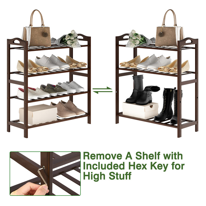 4 Tier Bamboo Shoe Rack | Chic Shelf Storage