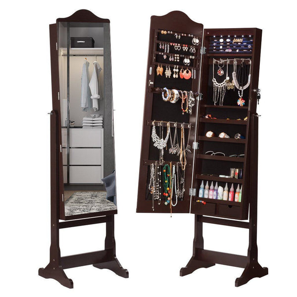 LANGRIA Lockable Armoire Mirrored Jewelry Cabinet