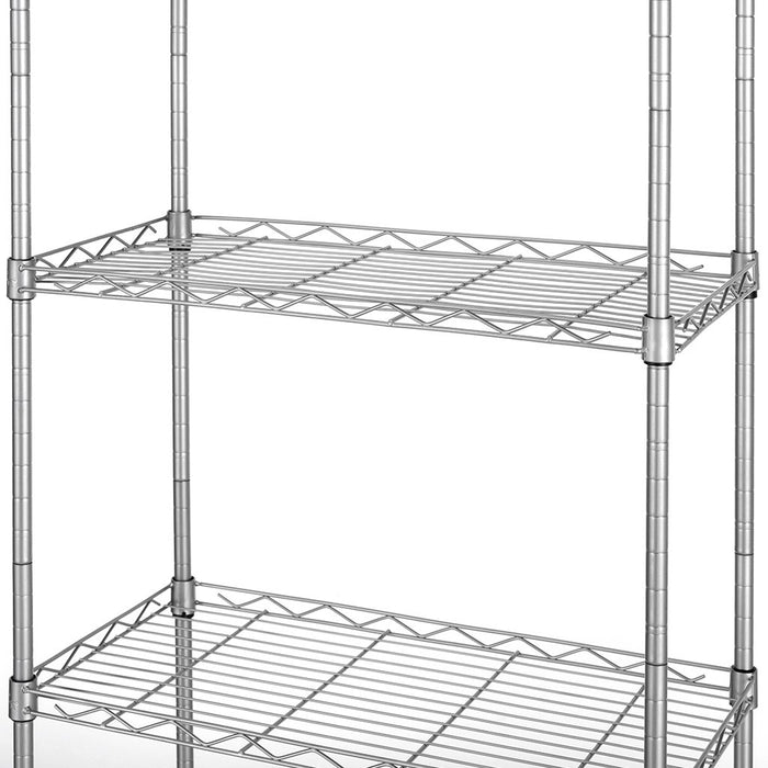 LANGRIA LANGRIA 6 Tier Wire Shelving Unit Organization and Storage Rack with 5 Hooks,Silver