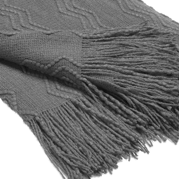 LANGRIA Soft Comfortable Knitted Throw Blanket with Tassels