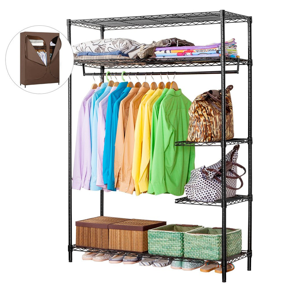 LANGRIA LANGRIA Heavy Duty Wire Shelving Garment Rack Clothes Rack, Portable Clothes Closet Wardrobe,Compact Zip Closet, Extra Large Wardrobe Storage Rack/Organizer, Hanging Rod,Capacity 420 lbs