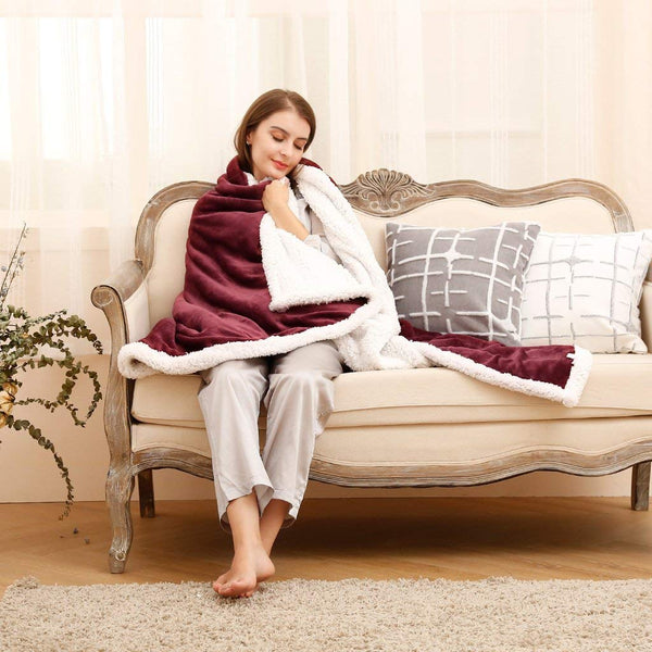 LANGRIA Luxury Sherpa Flannel Fleece Reversible Blanket (50''x 60'')