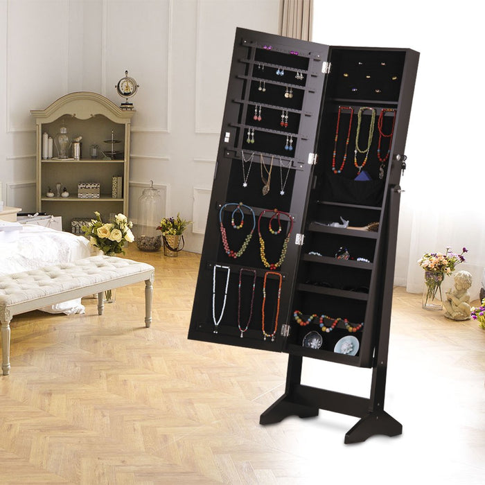 LANGRIA LANGRIA Lockable Jewelry Cabinet Jewelry Armoire with Mirror Jewelry Holder Organizer Storage, 4 Angle Adjustable