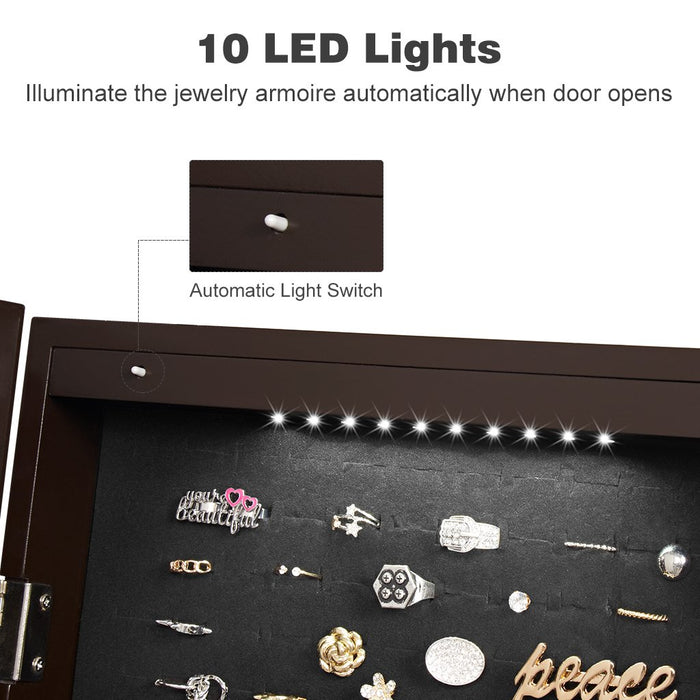 LANGRIA LANGRIA 10 LEDs Wall Door Mounted Jewelry Cabinet Lockable Jewelry Armoire Storage Organizer for Accessories, Carved Design, 2 Drawers, 3 Adjustable Heights