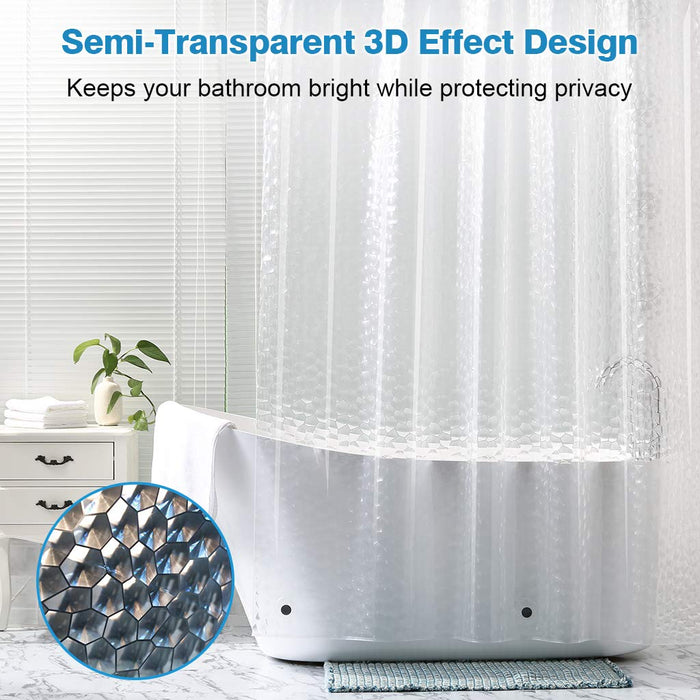 LANGRIA LANGRIA Shower Curtain Semi-Transparent Bath Curtain with 3D Effect Design, Home EVA Liner with Copper Grommets and 12 hooks, Water-repellent, Odorless, Mildew Resistance for Home and Hotel Use