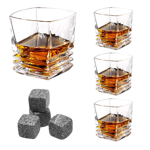 LANGRIA Whiskey Glasses Gift Set of 4 Whisky Stones