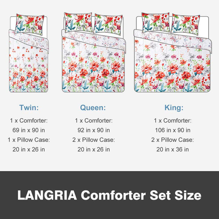 Comforter Set with Floral Print Reversible Design, Ultra Soft and Lightweight