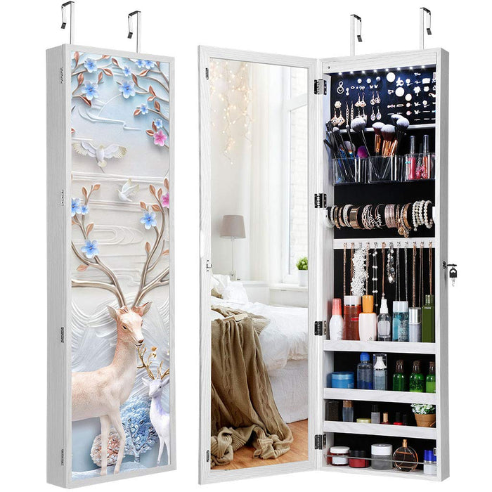 LANGRIA LANGRIA Jewellery Cabinet with Full-Length Mirror and Stunning 3D Magnetic Flower Picture Frame Features LED Lighting and Lockable Wall-Mounted Over-the-Door Design for Armoire and Accessory Storage