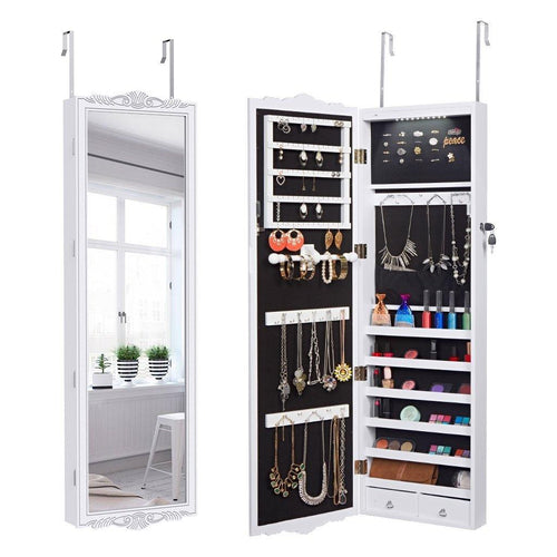 LANGRIA Wall Mount Mirrored Jewelry Armoire
