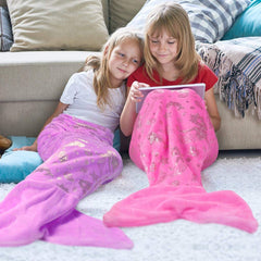 LANGRIA Glittering Flannel Mermaid Tail Blanket (56''x 20'')