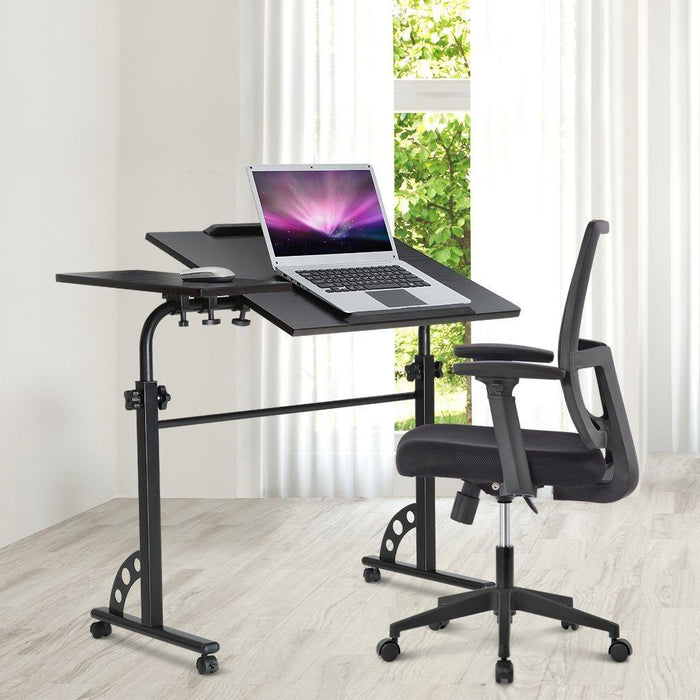 LANGRIA LANGRIA Laptop Rolling Cart Computer Stand Desk Large Wooden Table Top Height Adjustable PC Home Office Workstation