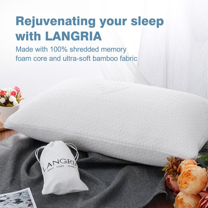 LANGRIA LANGRIA Luxury Bamboo Shredded Memory Foam Pillow with Zip Cover and Adjustable Viscoelastic Sleeping Pillow CertiPUR-US Approved Foam Filling Breathable Hypoallergenic Odor-Free Washable, Queen