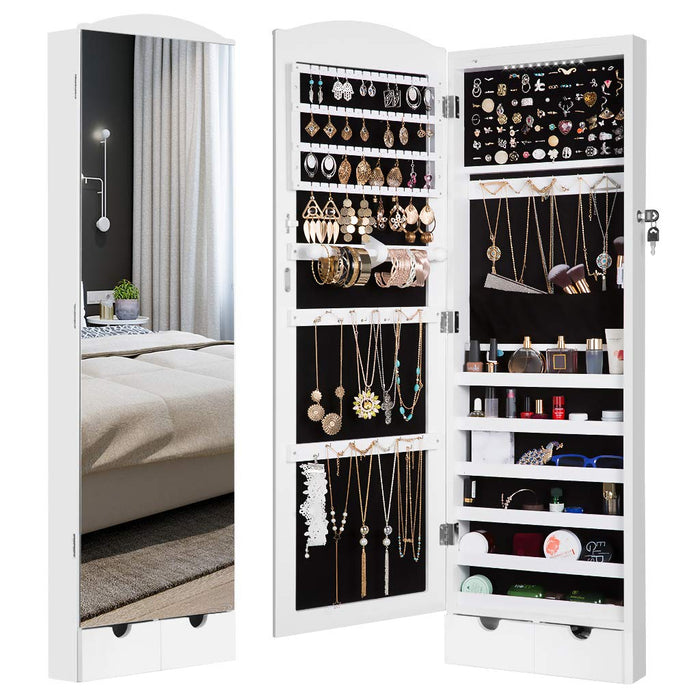 LANGRIA LANGRIA 10 LEDs Wall/Door Mounted Jewelry Armoire with Full Length Mirror, Lockable Jewelry Cabinet Organizer with 2 Drawers