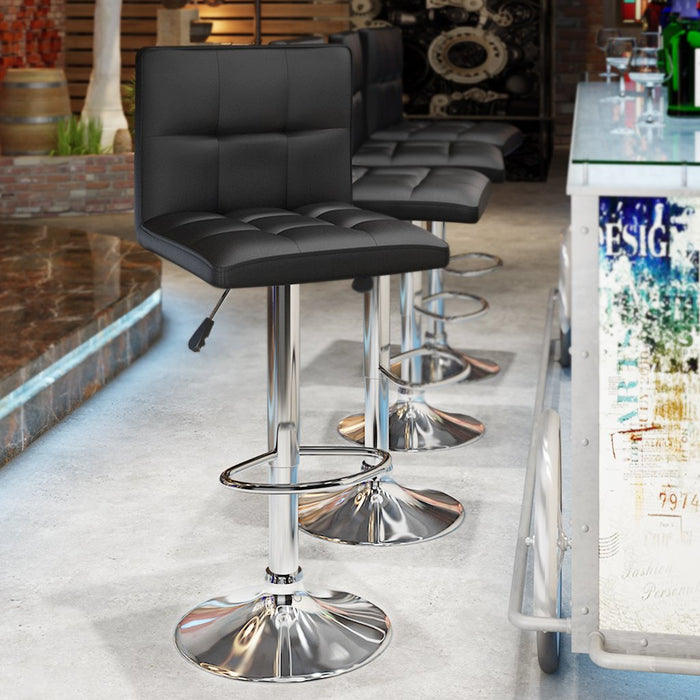 LANGRIA LANGRIA San Francisco Bar Stool Set Square Tufted Faux Leather Upholstery Adjustable Swivel Gas Lift Extra Large Base, Backrest Footrest Breakfast Bar Counter Kitchen & Home (2 PCS)