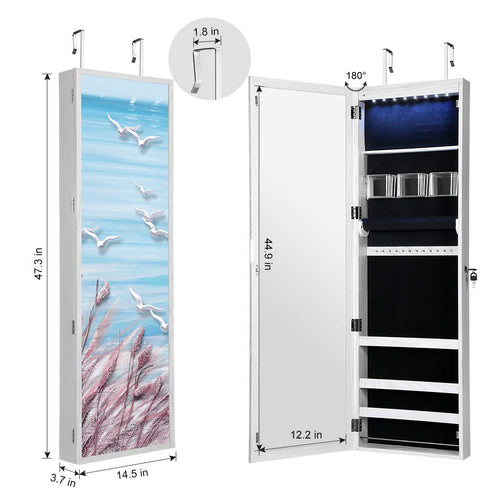 LANGRIA Lockable Jewelry Cabinet With 8 LEDs and Full-Body Mirror