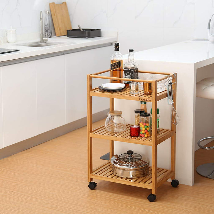 Bamboo All-Purpose 3 Tier Rolling Cart with Removable Hooks and Lockable Wheels