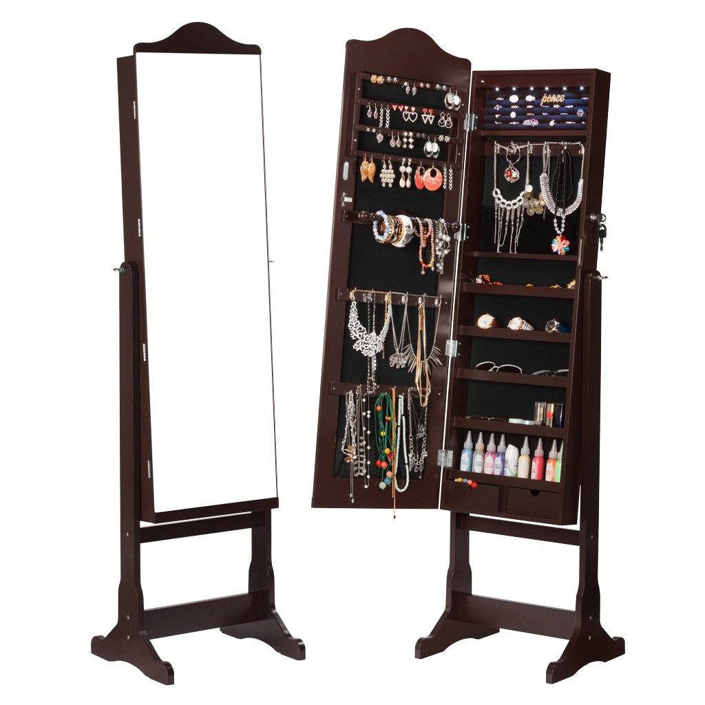 Jewelry Cabinet Armoire with Wider Mirror LED Lights & Drawers