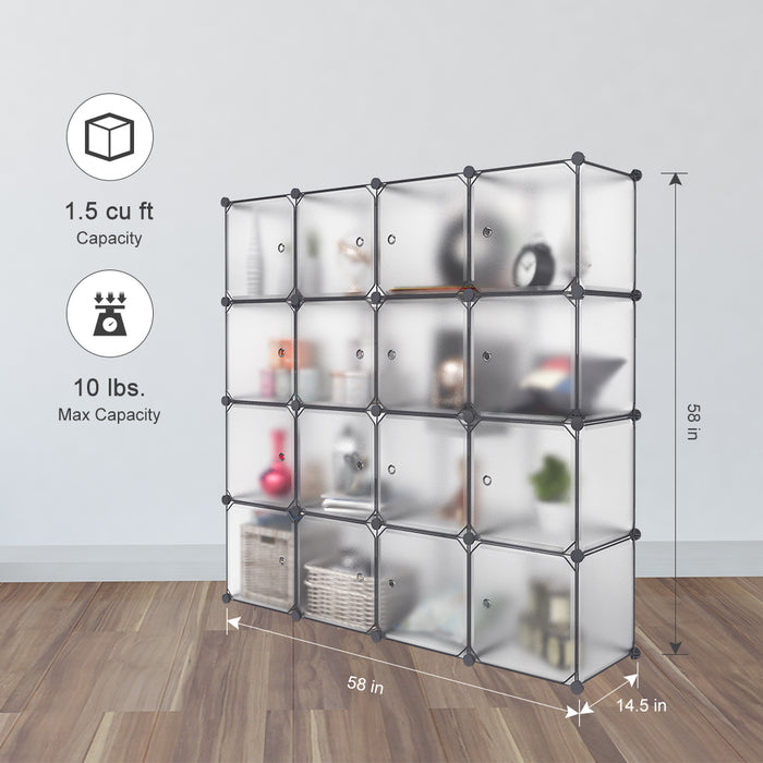 [CLEARANCE]16-Cube Interlocking Modular Storage Organizer Shelving System Closet Wardrobe Rack