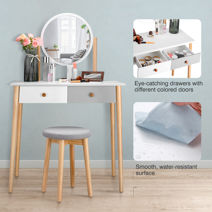 LANGRIA Modern Makeup Table with Round Mirror and Stool