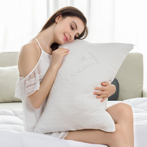 LANGRIA Luxury Bamboo Zip Cover Bed Pillow