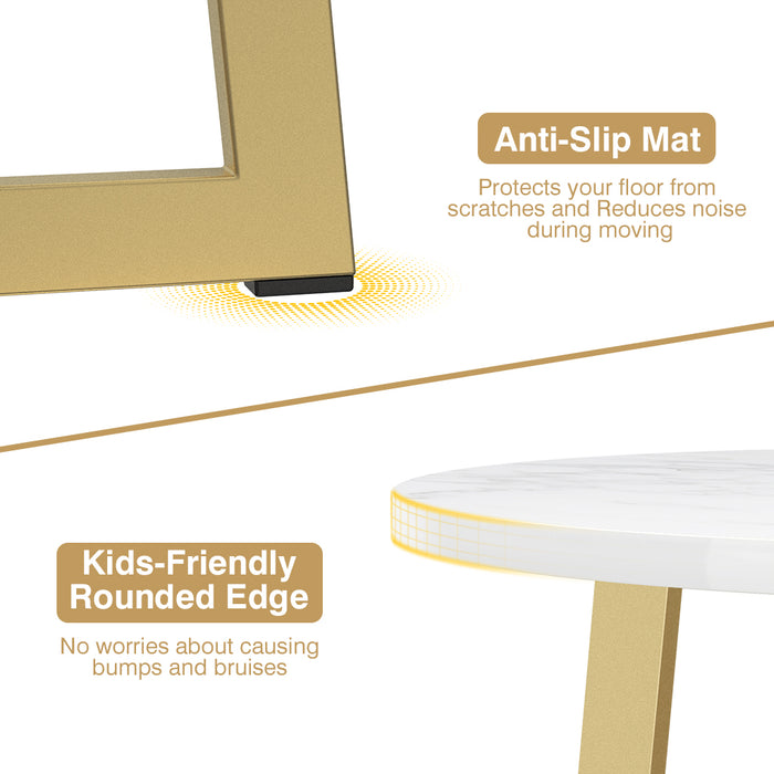 Gold & Marble Tall X-Shaped Coffee Cocktail Side Table