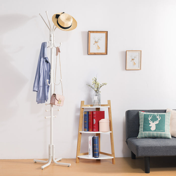 Metal Coat Stand with 17 Hooks and 6 Tiers, Free Standing Solid Coat and Hat Rack