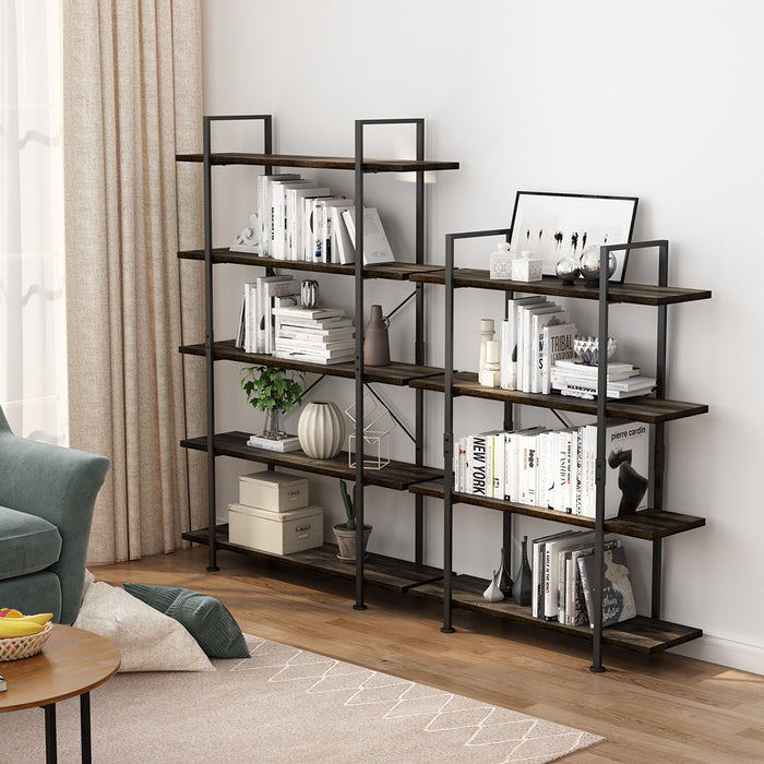 Industrial 5-Tier Bookcase, Vintage Rustic Bookshelf with Black Metal Frame