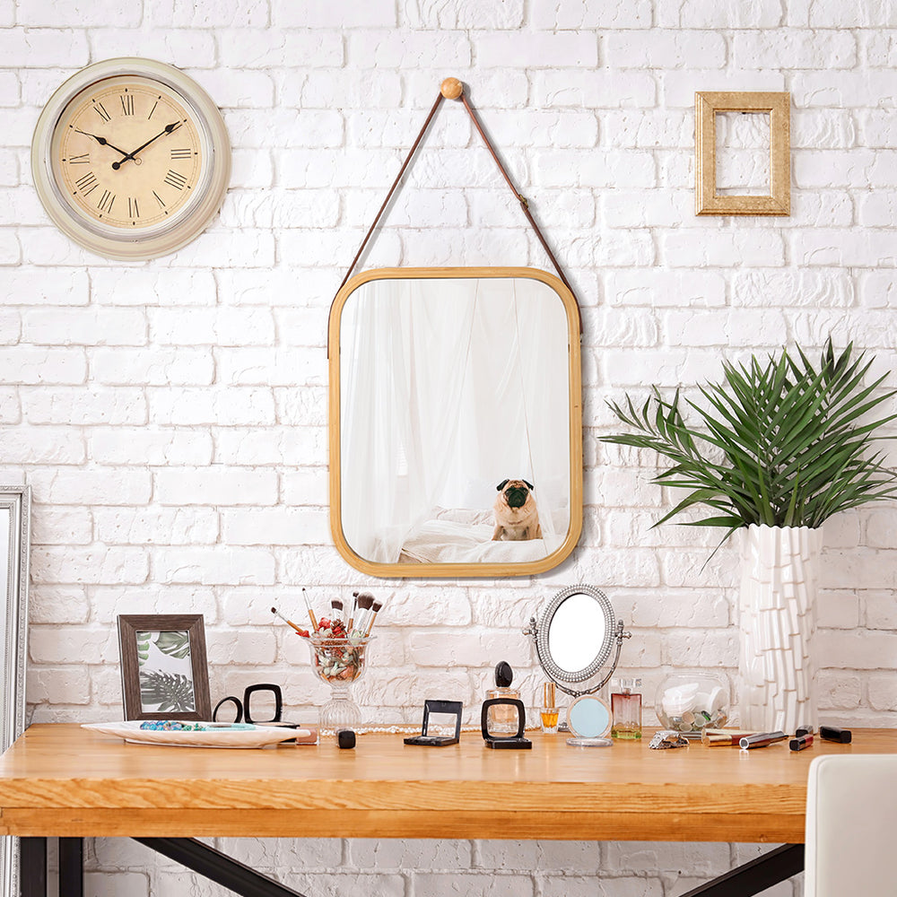 Hanging Wall Mirror Rectangular Wall-Mounted Makeup Vanity Room Decor